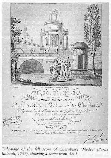 Title page of the first edition of the full score of Mde by Cherubini, 1797.