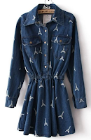 Navy Long Sleeve Eiffel Tower Pockets Denim Dress
