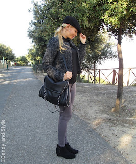 Black Sheer Blouse, Grey Leggings, Black Hat - Lilli Candy and Style Fashion Blog