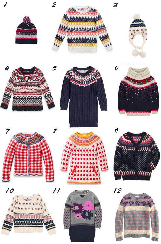 Prendas de punto estampado para niña otoño 2013 Pequeña Fashionista