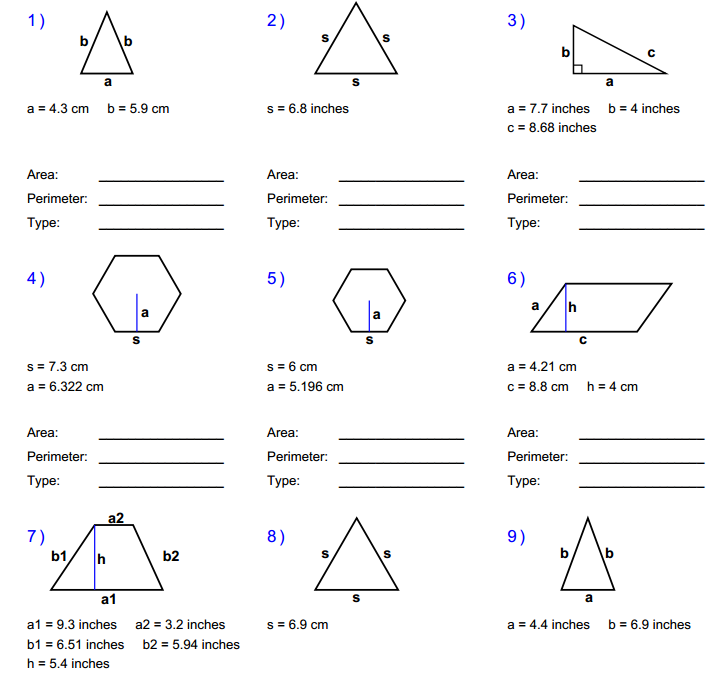 ... area of triangles paralellograms trapezoids and other regular polygons