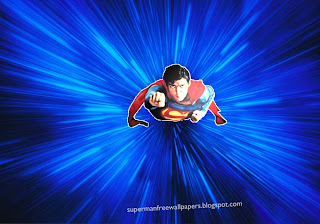 Wallpaper of Superman super sonic fly in Blue Vortex background image