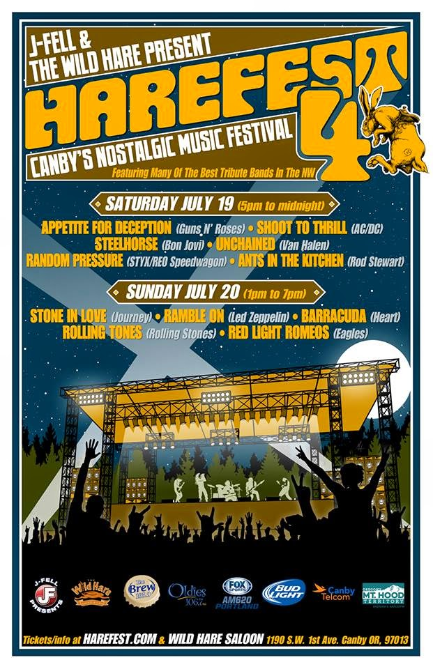 Harefest Canby Oregon Nostalgic Music Festival tribute bands