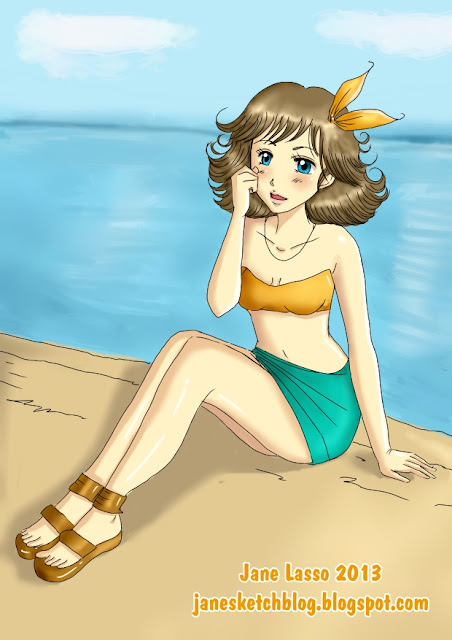 Chica manga en la playa , creada por Jane Lasso