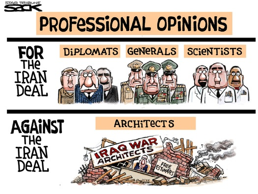 For the Iran deal:  Diplomats, Generals, Scientists.  Against the Irag deal:  Architects of the Iraq War.