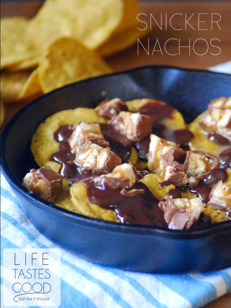 SNICKERS Nachos | by Life Tastes Good | Gear up for Football season with the sweet salty crunchy goodness of this unique dessert nacho recipe! #shop #Chocolate4TheWin