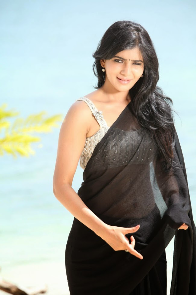 Telugu Actress Samantha Ruth Prabhu Hottest Photos : Samantha Ruth Prabhu Hot Stills In Black Saree