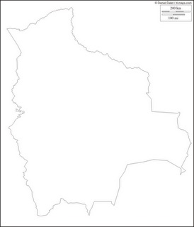 Mapa mudo, blanco y negro de Bolivia