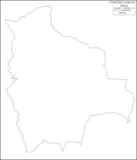 Mapa mudo, blanco y negro de Bolivia