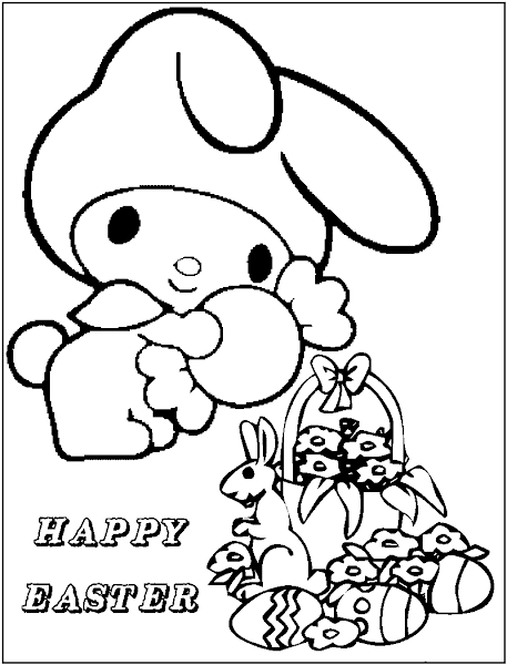 Hello Kitty Easter Bunny Coloring Pages - coloring.download