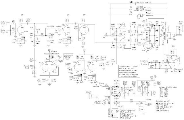 wiring diagram info hammonator organ to guitar amp conversion the output stage of this amplifier resembles a fusion between a fender princeton reverb fender vibroverb and ham radio transmitter