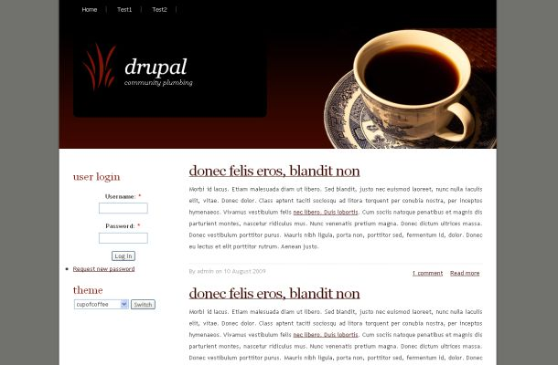 Free Drupal Coffee Black Brown Theme Template