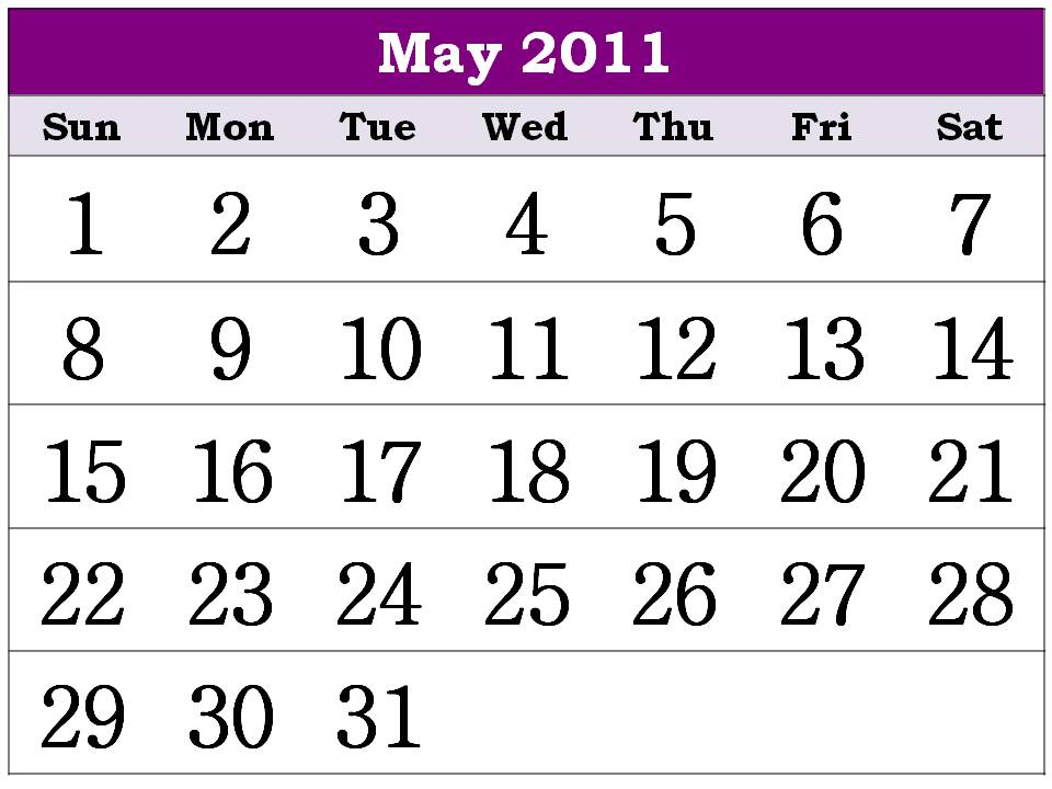 may calendar for 2011. Free Printable Calendar 2011