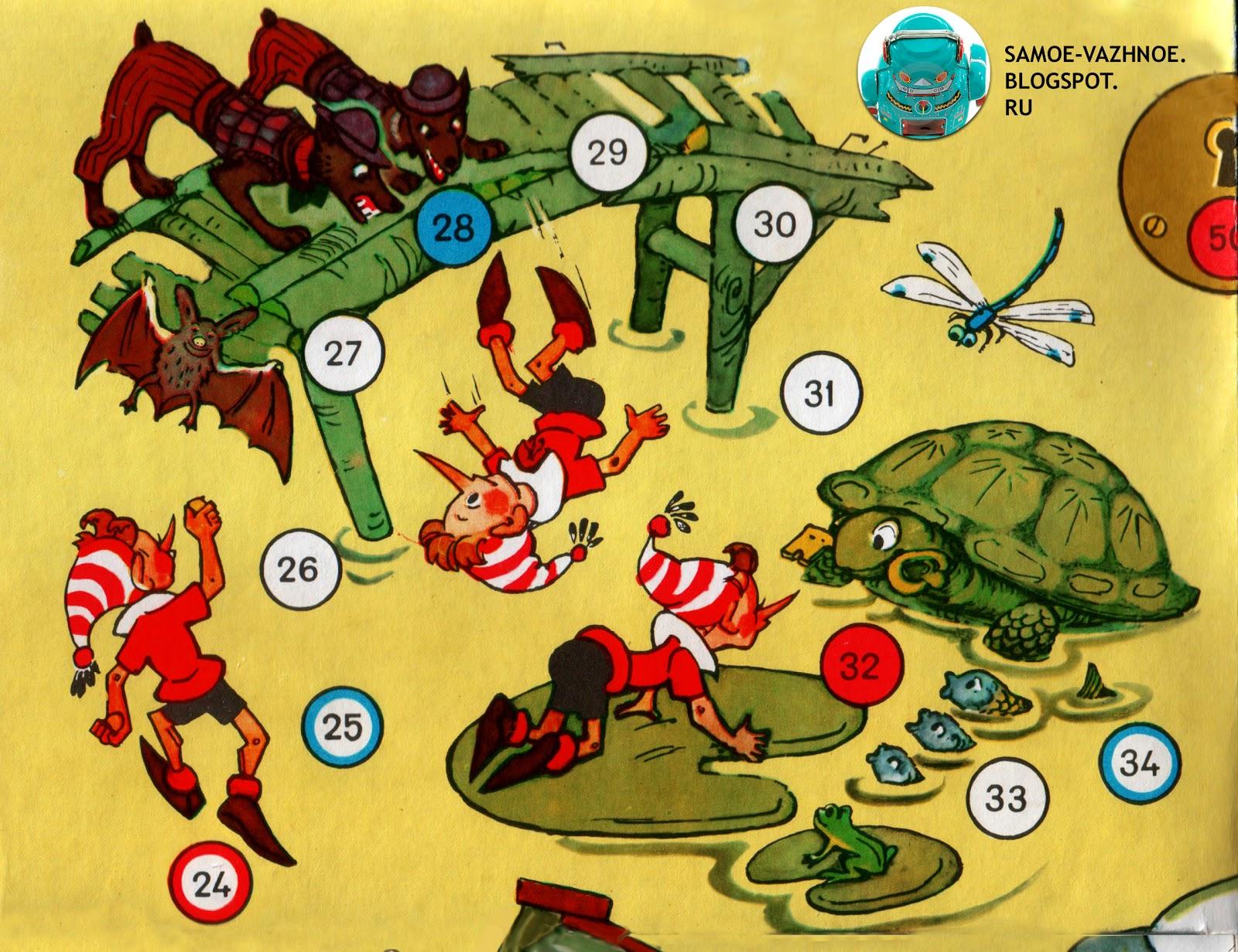 Советская игра про Буратино с фишками и кубиками