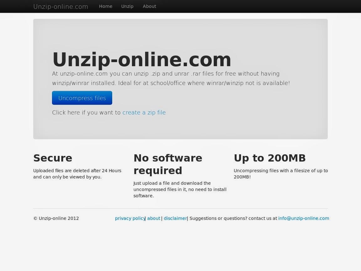 unzip rar files online without software