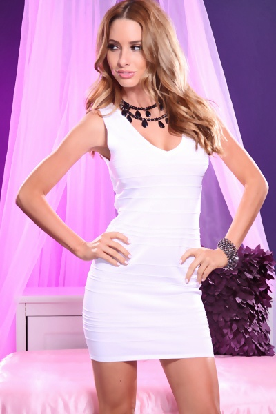 WHITE V NECK TEXTURED STRAPPY BACK BANDAGE SEXY MINI DRESS