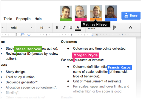 Mathias, Morgan, Francis, and Stasa collaborated on their thesis project using Google Docs and Paperpile.