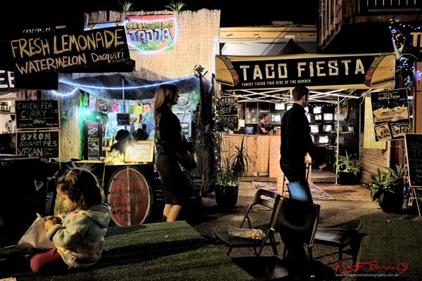 The vibrant West End night markets food stalls. Photo by Kent Johnson.