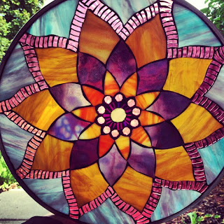 Lotus Mosaic Mandala Modification in Purple, Amber, & Blue