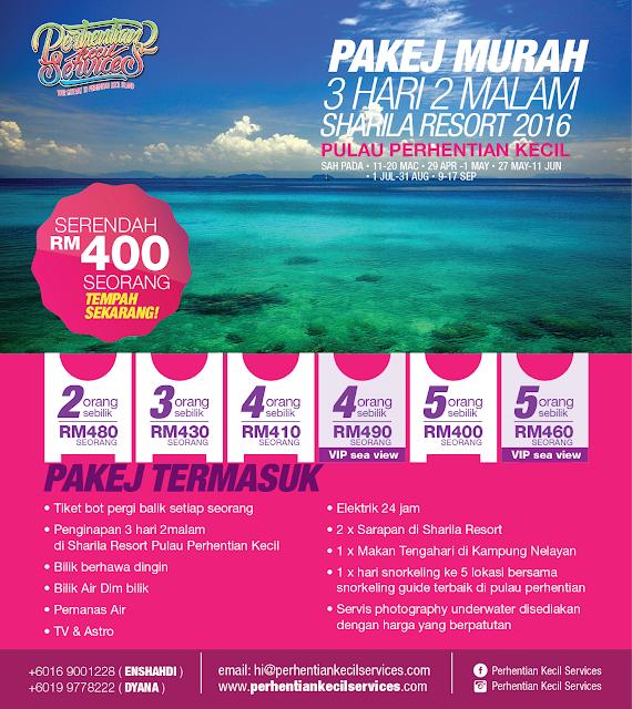 Pakej serendah rm 400  Pulau Perhentian Murah 2016 , 2017 , 2018