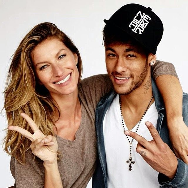 Gisele Bundchen with Barcelona soccer player, Neymar