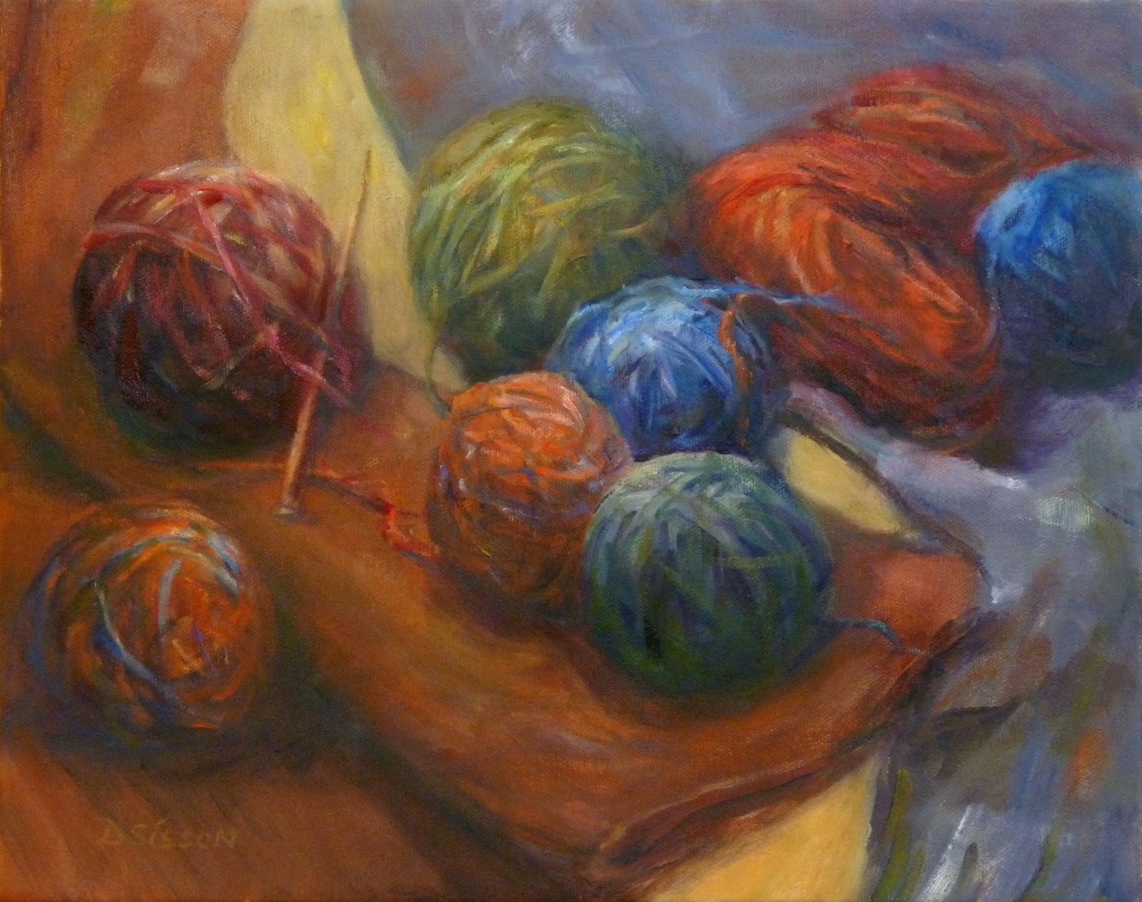 Knitting In Art : Daily painting projects knitting yarn oil art