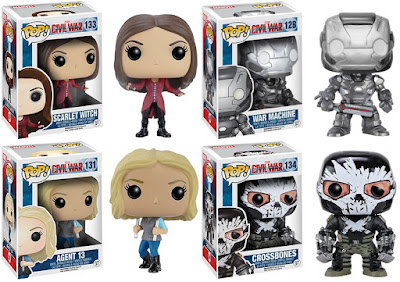 Captain America Civil War Pop! Marvel Vinyl Figures by Funko - Scarlet Witch, War Machine, Agent 13 & Crossbones