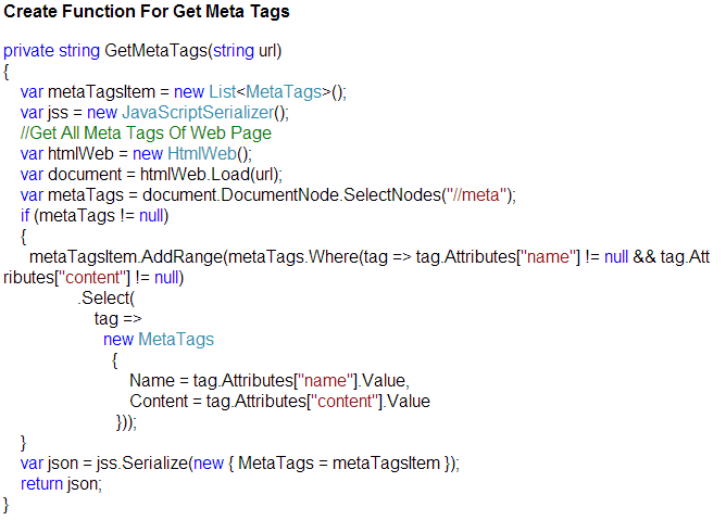 Create Function For Getting Meta Tags