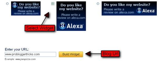 Alexa review Widget for blogspot