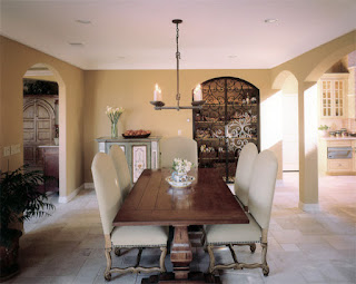 Classic View of the Dining Room Tables And Chairs in the Dining Room with Unique Iron Chandelier