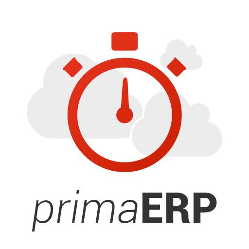 Logo do primaERP – nuvens e cronômetros
