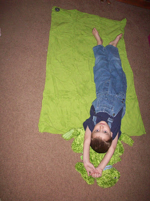 Little boy with Zoobies frog and blanket