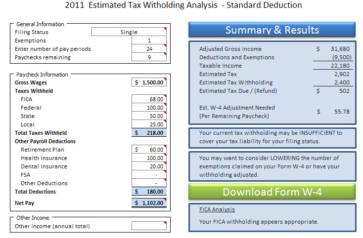 Excel In Life Templates Included Tax Withholding Analysis