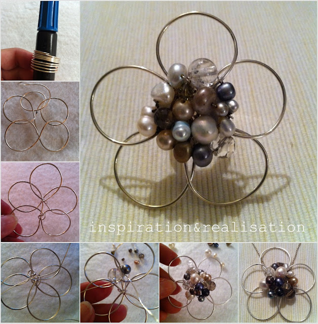 crafty jewelry: a 5 petals flower, with beads in the middle, crafts tutorial
