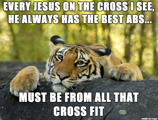 Funny Cross Fit Abs Jesus Meme Picture