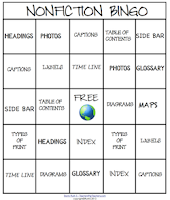 photo of Nonfiction Bingo, pdf, Ruth S. TeachersPayTeachers.com, nonfiction text