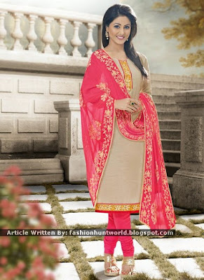 Hina Khan Beige And Grey Indian Dress Designs