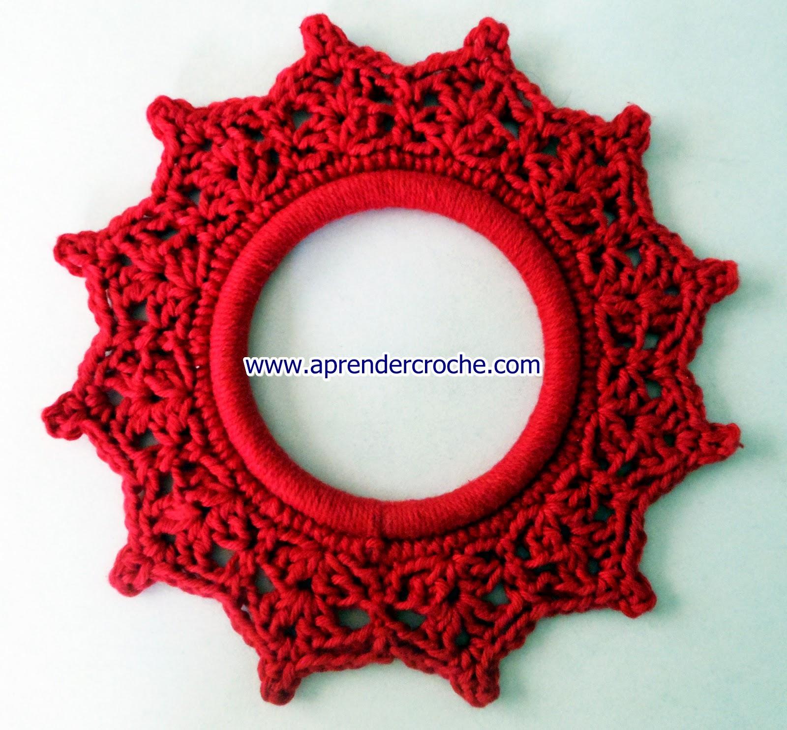 aprender croche natal guirlanda porta laços fitas edinir-croche dvd vermelho maxcolor barroco circulo loja frete gratis youtube