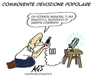 smartphone. religione, devozione, tecnologia, umorismo, satira, vignetta