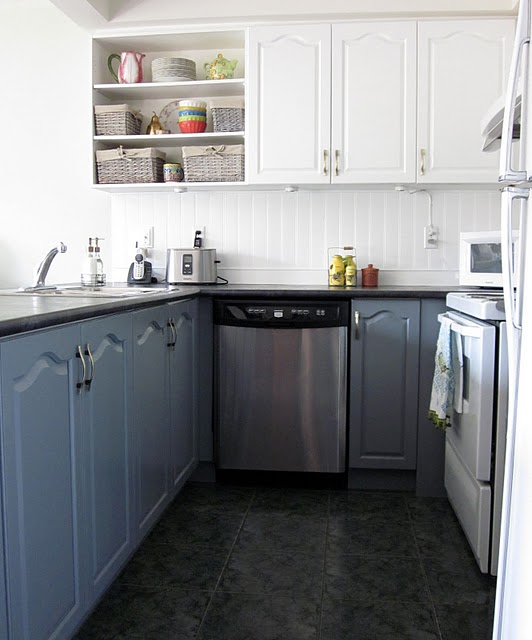 Thrifty Parsonage Living KITCHEN MAKEOVER - Gray lower cabinets