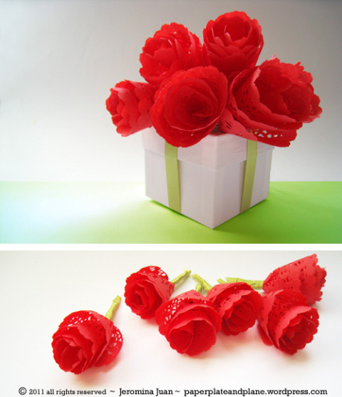 Fort field paper doily roses paper plate and plane shares a super quick way to make paper doily roses mightylinksfo
