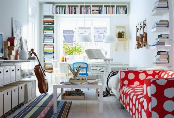 Desain Interior Ruang Tamu Minimalis Mungil Penuh Warna