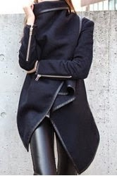 ladies designer black wool coat