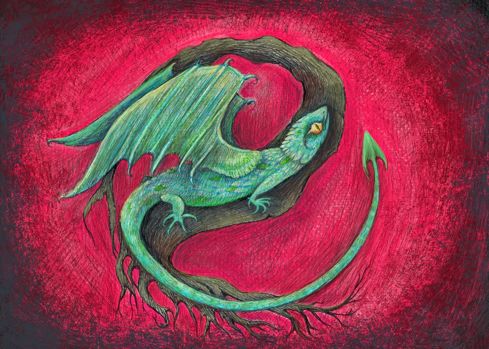 baby dragon art by melanie dann