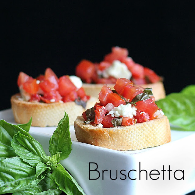 bruschetta with tomato and basil - Valentines Day Appetizers