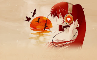 Anime Girl Headphone Birds HD Wallpaper