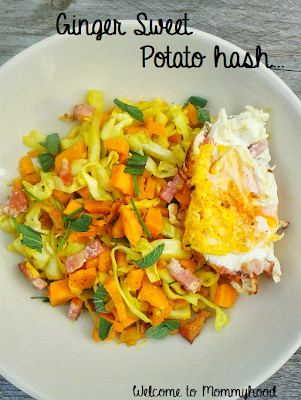 Healthy meal plans: Ginger sweet potato hash {Welcome to Mommyhood} #easyhealthyrecipes, #healthymealplans