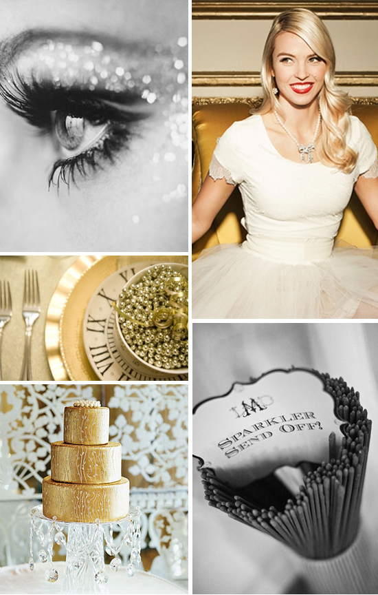 New Year's Eve Gold and Glitter Wedding Inspiration Board Part 2