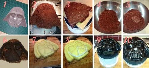 Paso a paso como se hizo el pastel de Darth Vader
