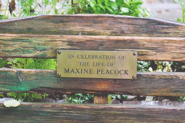 Maxine Peacock memorial bench